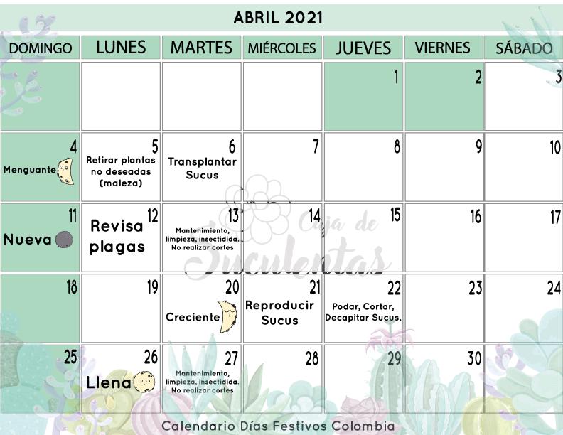 Sucu Planner Calendario Abril 2021 Fases de la luna para jardinear cajadesuculentas